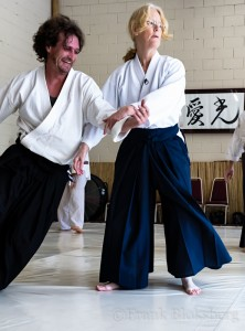 Gabriel Cuppet taking ukemi for Linda Holiday Sensei
